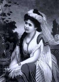 portrait of an austrian beauty seated on a balcony by marcel johann von zadorecki