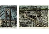 shimotsui seto long-bridge, seto long‐bridge and cable-stayed bridge (set of 2) by bernard buffet