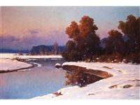 winterliche landschaft mit verschneiten ufern an einem nach hinten ziehenden flusslauf mit bäumen in herbstlicher verfärbung by carl kenzler