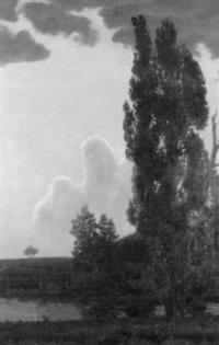 flusslandschaft mit bäumen bei dämmerung by hermann terstegen