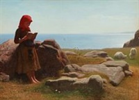 summer landscape with a girl who reads while the sheep graze by anton laurids johannes dorph