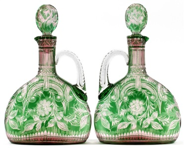 stevens williams intaglio cut two color glass claret jugs c 1900 pair h 11