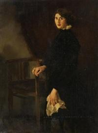 porträt einer jungen dame by adolf j. (jelinek) alex