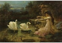 swan and girl by hans zatzka