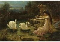 swan and girl by hans zatzka