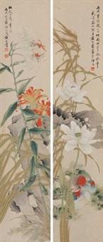 工细花卉 (in 2 parts) by huang shanshou