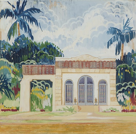 california residential rendering with palm trees by louis comfort tiffany