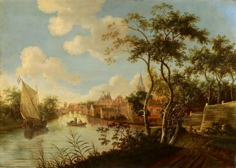 dorflandschaft an einem fluss mit segel und ruderboot by anonymous dutch 17
