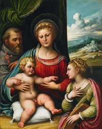the holy family with saint catherine by girolamo da treviso the younger