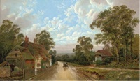 a cart on a country road, passing some cottages by allen