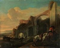 südliche landschaft mit ruinen, rastendem reiter mit zwei pferden by jan asselijn