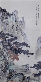 设色纸本 山水画 by lianxi