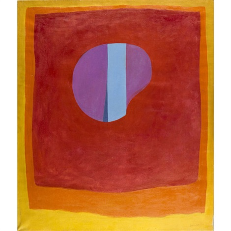 untitled purple and blue circle in red, orange and yellow by rex ashlock