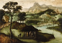 a panoramic landscape with christ healing the blind man by lucas gassel