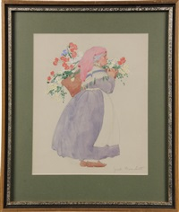 peasant woman with flowers by janet laura scott