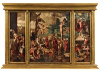 altarpiece with the crucifixion by jan swart van groningen