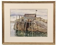 monhegan fish shack by janet laura scott