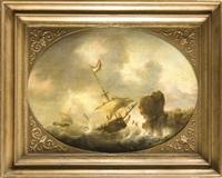ein sinkendes schiff vor felsiger küste, dessen besatzung versucht sich an land zu retten by reinier nooms