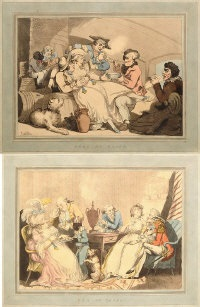tea on shore and grog on board (2 works) by thomas rowlandson