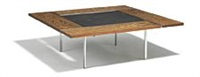 square coffee table with chromed steel frame by preben fabricius and jørgen kastholm