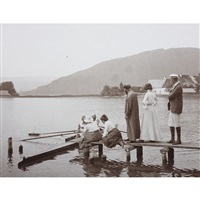 gustav klimt with friends at a landing stage by emma bacher