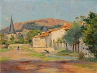 summer day in a french village by georges pierre louis serrier