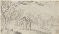 gardeners planting and grafting in a field outside a walled castle in the distance and a mountainous landscape beyond by johann lochmann