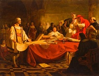 columbus before the high council of salamanca by emanuel gottlieb leutze