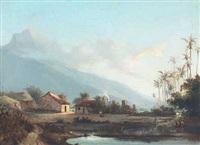parti fra vestindien med huse og palmer ved en so, i baggrunden bjergtinde by fritz siegfried george melbye
