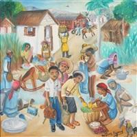 haitian market scene by wilson bigaud