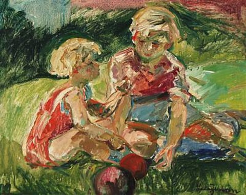 two children playing by ludvig jacobsen