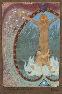 farbskizze zum aufschwung 1911 (sketch) by hugo hoppener fidus