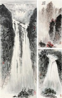 山水 (三帧) (3 works; various sizes) by zhang wenjun