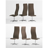 high back oxford chairs (set of 6) by arne jacobsen