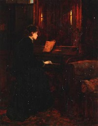 interior with a woman playing the piano by charles napier kennedy