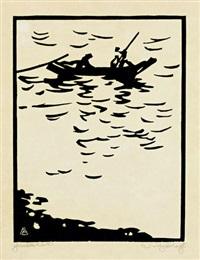 elbfischer (boot auf der elbe) by fritz bleyl