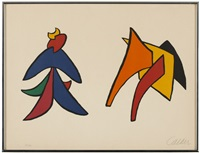 two stabiles from derriere le miroir #141 by alexander calder