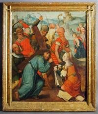 christus fällt unter dem kreuz. veronika reicht jesus das schweißtuch by anonymous-dutch (15)