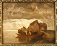 reiter auf einem floß am ufer bei aufziehendem unwetter by adolf j. (jelinek) alex