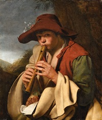 boy playing a flute (il pifferaio) by jan miel