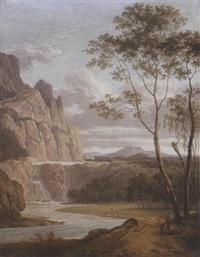 gebirgige landschaft mit wasserfall by simon klotz