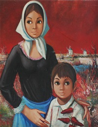 mother & child in a dutch landscape with windmills by jean-pierre serrier