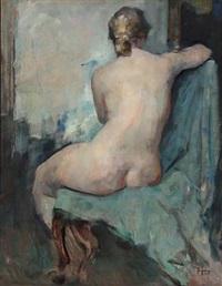 nude female model (study) by herman albert gude vedel