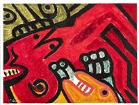 komposition i rött och grönt med ansikten by bengt lindström