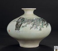 《赏清图》 (famille-rose glazed vase) by rao xiaoqing