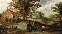 landscape with peasants and horsemen by jan brueghel the younger