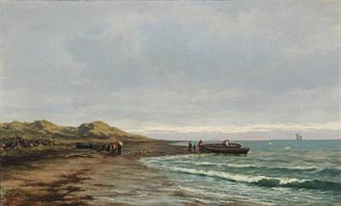 coastal view with boats and people on the beach (norway?) by johan larssen