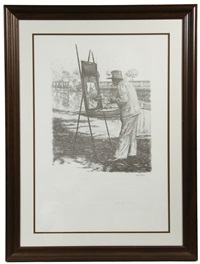 portrait of sir winston churchill painting at his outdoor easel w/remarque by curtis hooper