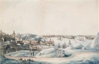utsigt af stockholm åt saltsjön, tagen på lundins malmgård på södermalm by johan fredrik martin