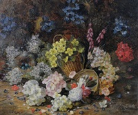 still life of flowers by henry j. livens
